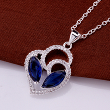 Free shipping hot selling women jewelry inlaid blue stones necklace high quality 925 silver necklace charm