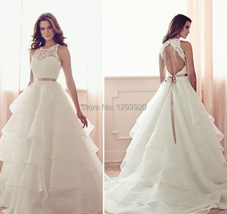 Elegant wedding dress A - LINE lace sleeveless X sexy backless organza cake skirt metal decoration church wedding dress dresses(China (Mainland))