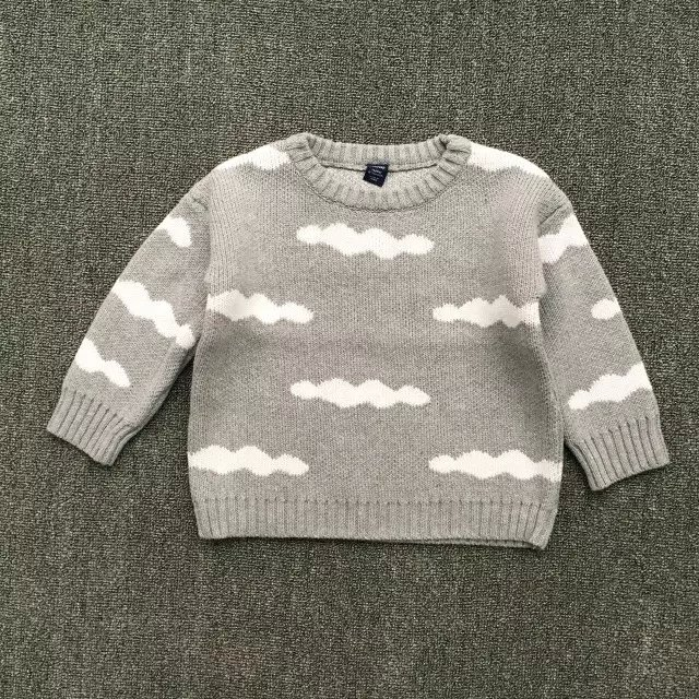New 2016 spring and autumn new children knitted sweater baby boys girls cute cartoon kids clouds sweater thick warm sweater()