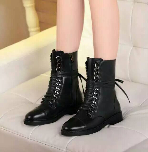 2015 Genuine Leather Women Motorcycle Boots Brand Famous Designer Flat Ankle Boot Chains  Winter Shoe Buckle Fashion Boots