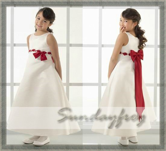 Custom Made A-Line Flower Girl Dress Floor-length Satin Butterfly Tie Back Sash First Communion Dress Wedding Party Dress -FL11