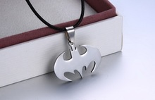 Free Shipping Fashion Jewelry Slippy Bat Batman Sign Pendant 316L Stainless Steel Necklaces leather chain Mens