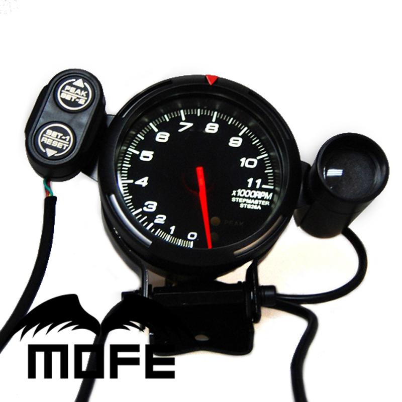 SPECIAL OFFER Original Logo BF 5PCS 11K RPM White LED 80MM Racing Tachometer For Car With Shift Light(China (Mainland))