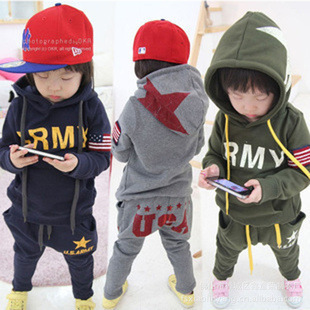 wholesale New Spring/Autumn/winter Children/Baby boy Clothes set,cotton long sleeve head hoodie + pants suit Drop shipping #40G0(China (Mainland))