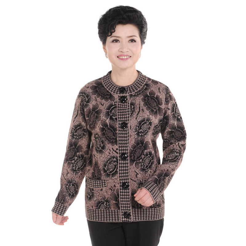 New 2015 Women Warm Cashmere Sweater Mother&Mum China Style Knitwear Cardigan Winter The Elderly Knitted Casual Jumper M-XXXL(China (Mainland))