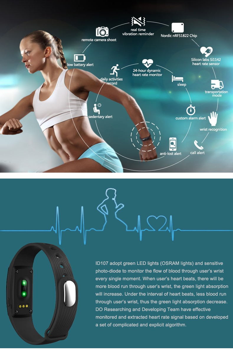 image for 2016 Newest Hot Sale Bluetooth Smart Bracelet Smart Band Heart Rate Mo