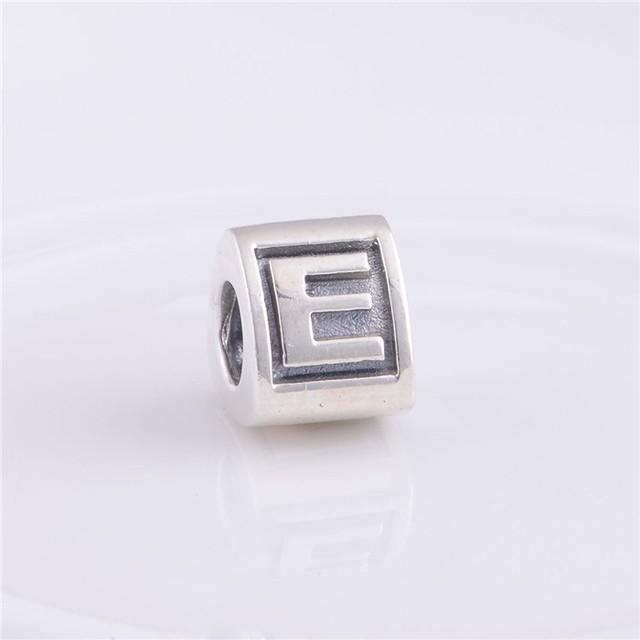 Письмо E бусины подходит пандоры прелести браслет 925-Sterling-Silver треугольной формы европейский шарм женщин DIY ювелирных изделий