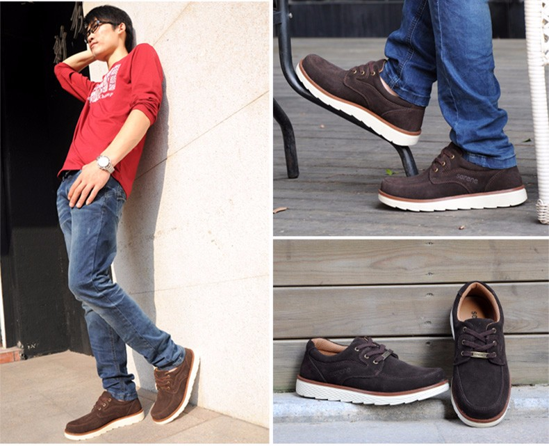 ᗖSERENE Men's Suede Leather ⑧ Shoes Shoes Casual Walking ...