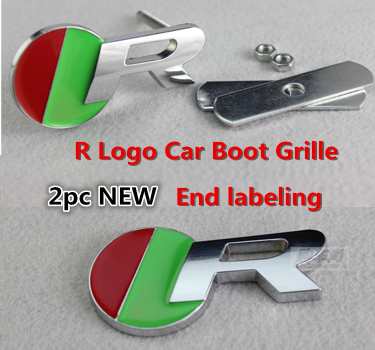 FREE SHIPPING 2pc NEW CHROME R Logo Front Rear Car Emblem for Jaguar XFR XKR XJR R Logo Car Boot Grille Grill Badge 523a(China (Mainland))