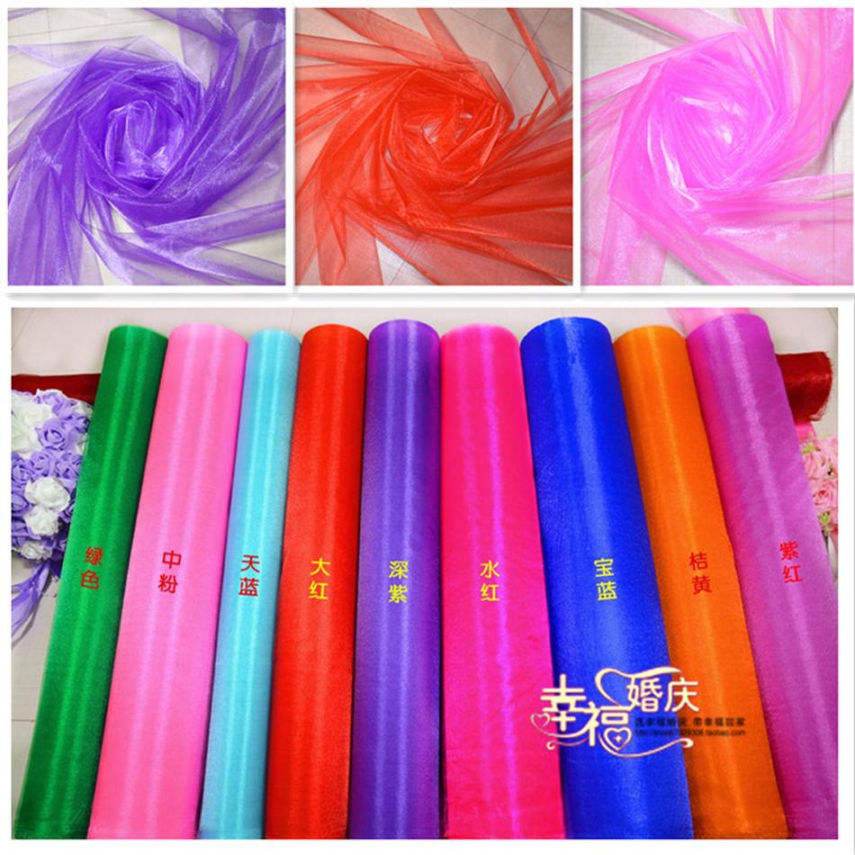 2015 New arrival 110 meter a lot Organza Snow Crystal yarn Shining Organza Fabric For Wedding Drape Decoration(China (Mainland))