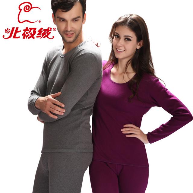 4XL Thermal underwear thickening plus velvet comfortable ultrafine goatswool lovers warm set