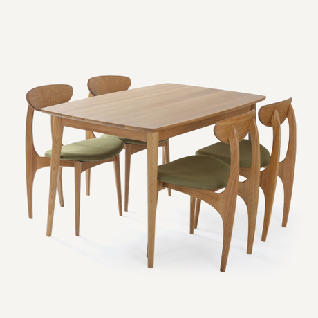 Dodge scandinavian modern style furniture oak wood dining for Small apartment table and chairs