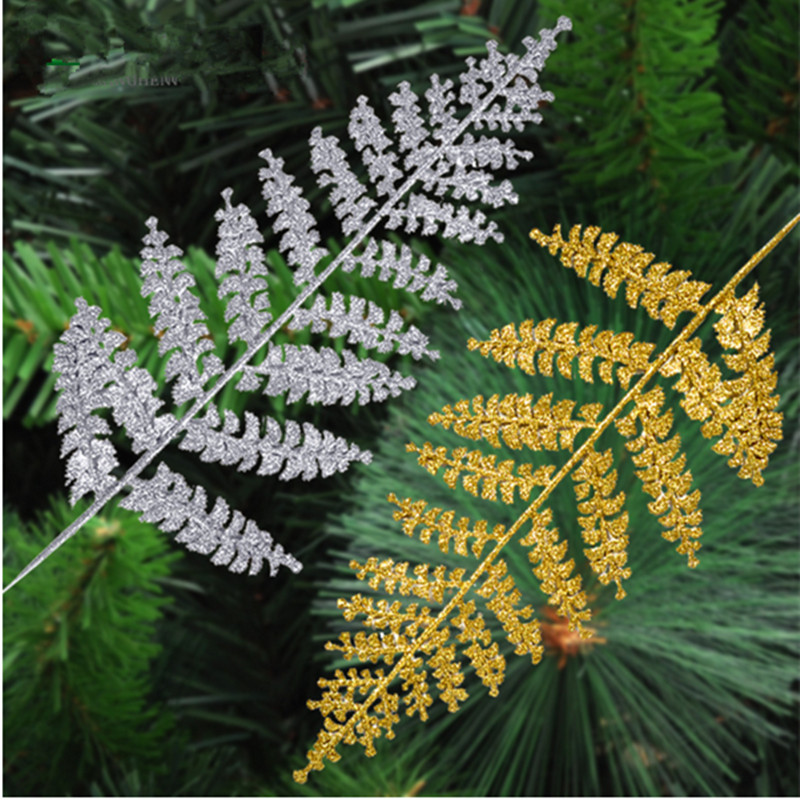 2016 golden dusting Halle leaves pendant Christmas tree decoration Package 40cm Iron 10g(China (Mainland))