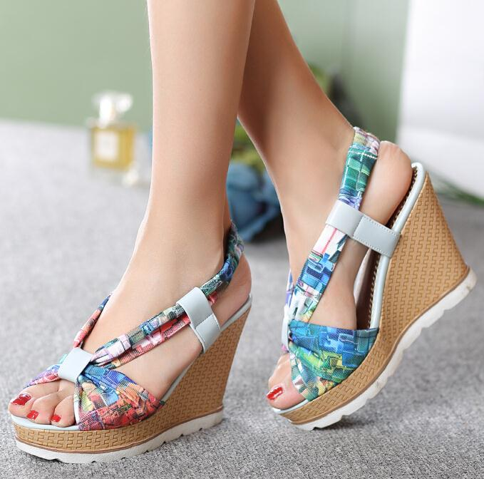 ENMAYER Bohemia Beaded Colorful Ankle Strappy High Heels Summer Shoes Sexy Wedge Sandals Open Toe Platform Sandals Women<br><br>Aliexpress