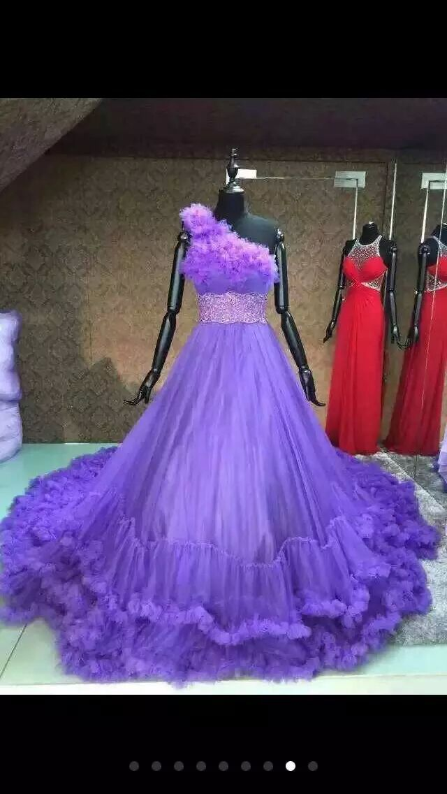 Fast Shipping Purple Wedding Dress Made in China 2015 Elegant One Shoulder Bridal Gown with Long Train Vestidos De Noivas ZZB11(China (Mainland))