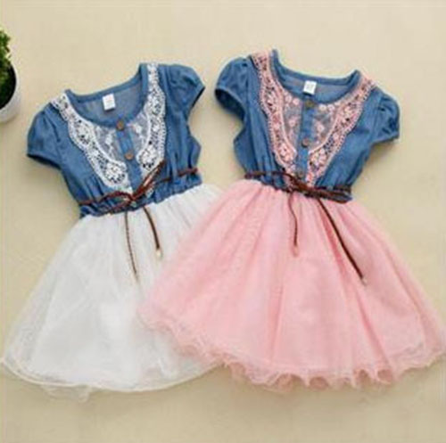 free shipping 2015 new fashion baby girls lace belt wearing Tutu cowboy kids patchwork mesh dresses(China (Mainland))