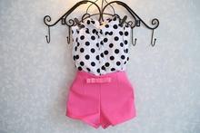 NEW Sale Girls costume clothing sets Dot shirt + Bowknot adornment shorts pants 2pcs summer suits baby Girls(China (Mainland))