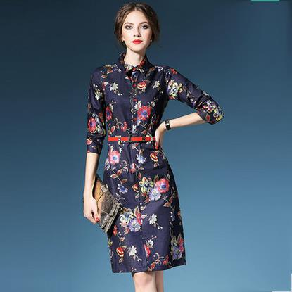 Vintage Printed Denim Dresses Fashion 2015 Women Autumn Bodycon Dress Elegant Office Dress Desigual Vestidos Casual Robe Vestido
