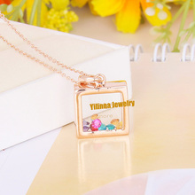 N134948 luxurious Colours Crystal Square Necklace Zinc Alloy 18K Rose Gold Rhodium Plated With Austria Crystal Fashion Jewelry(China (Mainland))