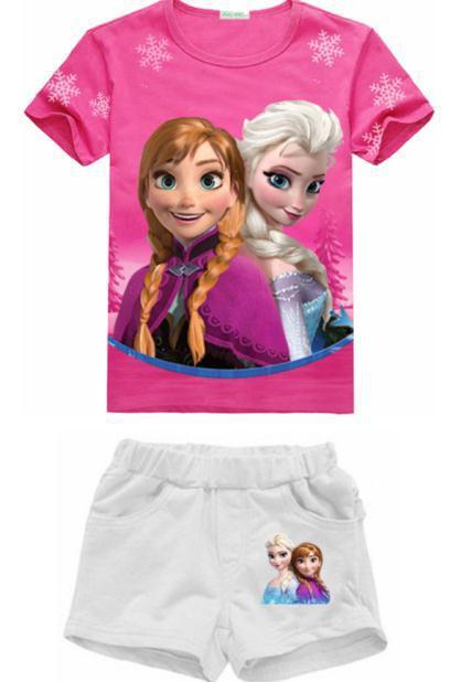 Summer Clothing Sets Girl's Short sleeve T Shirt+Short Pants Girls Suits Sets Children Shorts New 2015(China (Mainland))