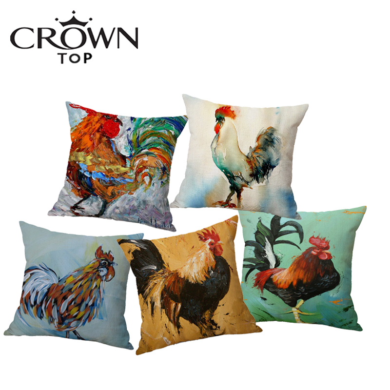 Hot Sell Watercolor Rooster Pillowcase Colorful Cock Linen Sofa Cushion Cover Printed Cushioncover Home House Decoration