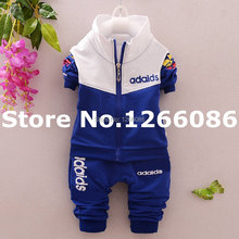 Newest 2016 Spring Autumn Baby  Boys Girls Sport Suits Zipper Casual Children Outwear+Pants 2pc Bebes Clothing Sets Hot Sales