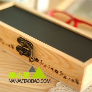 Korea stationery wood multifunctional small blackboard mirror stationery box pencil box