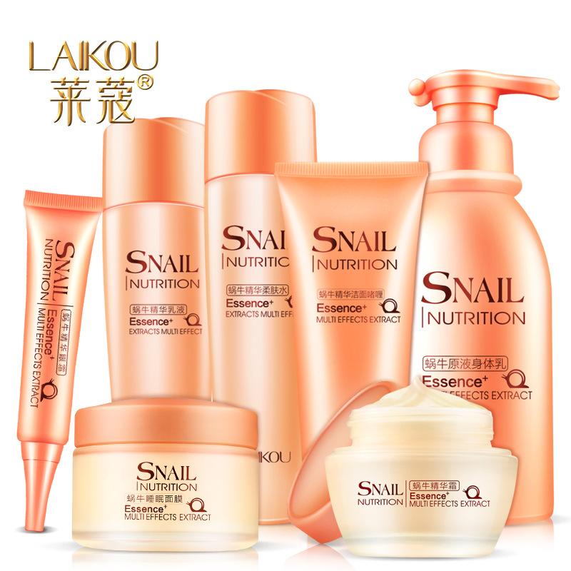 Lai Kou snail moisturizing cream Whitening Firming skin freckle remove blackhead moisturizing skin care cosmetics seven sets(China (Mainland))