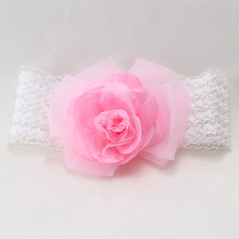 Durable 2016 Fashion Top Baby Pink Headbands New Girls Lace Big Flower Bow Hair Band Baby Head Hair Accessories L073(China (Mainland))