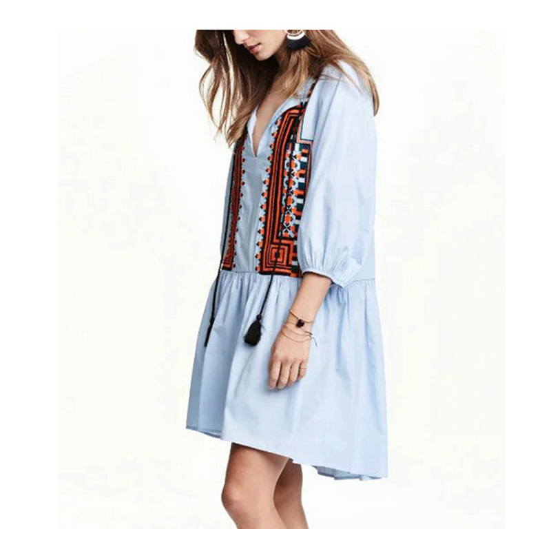Embroidery Dress Summer New Fashion Women Casual Dresses Half Sleeve V Neck Bohemian Clothes Ladies Blue White Tops Y00060(China (Mainland))