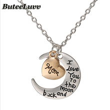 Hot Sale I Love You To The Moon And Back Silver Necklace Vintage Family Necklaces Pendants Fashion Women Jewelry.Chain XL0001(China (Mainland))