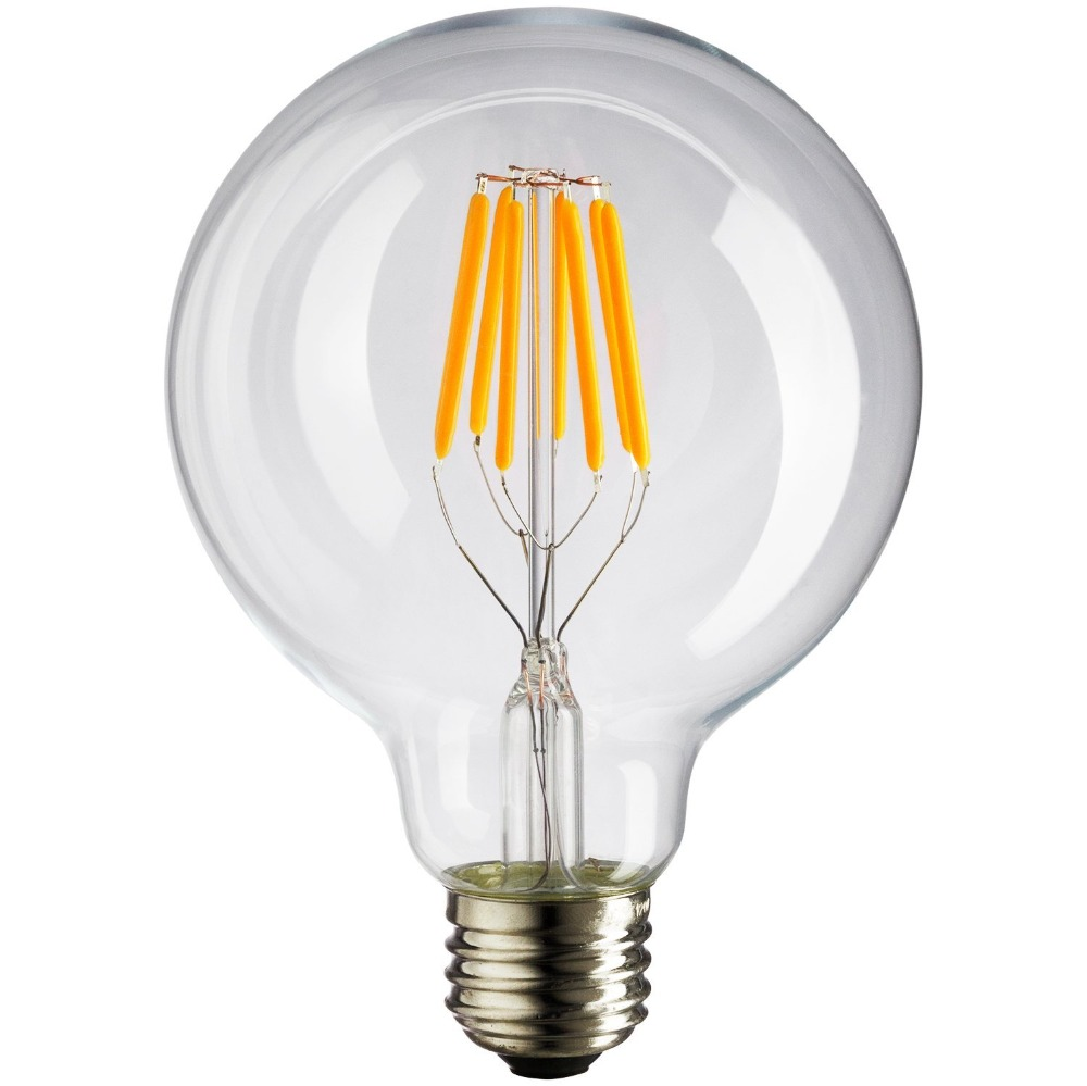 dimmable led vintage filament bulb g125 bulb style 6w warm white 2700k 110v 220v ac. Black Bedroom Furniture Sets. Home Design Ideas