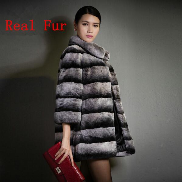 New Winter Warm Genuine Fur Chinchilla Real Rex Rabbit Fur Coat Natural Fur Long Coats For Woman Ladies Fur Outwear Parka(China (Mainland))
