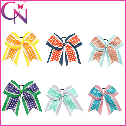 Free Shipping Large 8 Girls Cheer Bows Elastic Band Hair Cheerbow Boutique Children Cheerleader Bow With Sliver Pliad Print BowОдежда и ак�е��уары<br><br><br>Aliexpress