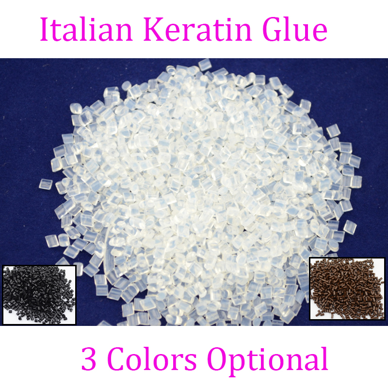 100gram/lot HIGH QUALITY Italian strong adhesion brown keratin glue granule/beads/grain for fushion hair extensions FUSION glue