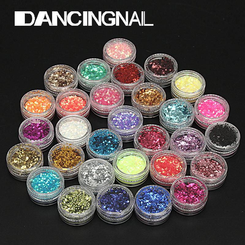 Fashion 30pcs Colors Hexagon Acrylic Glitter Shimmer Powder Dust Decoration Nail Art Tips Set(China (Mainland))