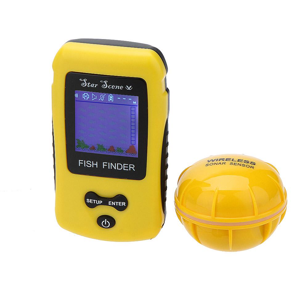 0.6 to 40m Depth Wireless Fish Finder Portable Fishing Sonar Sensor Fishfinder Color TN LCD Display Alarm Transducer Sounder(China (Mainland))