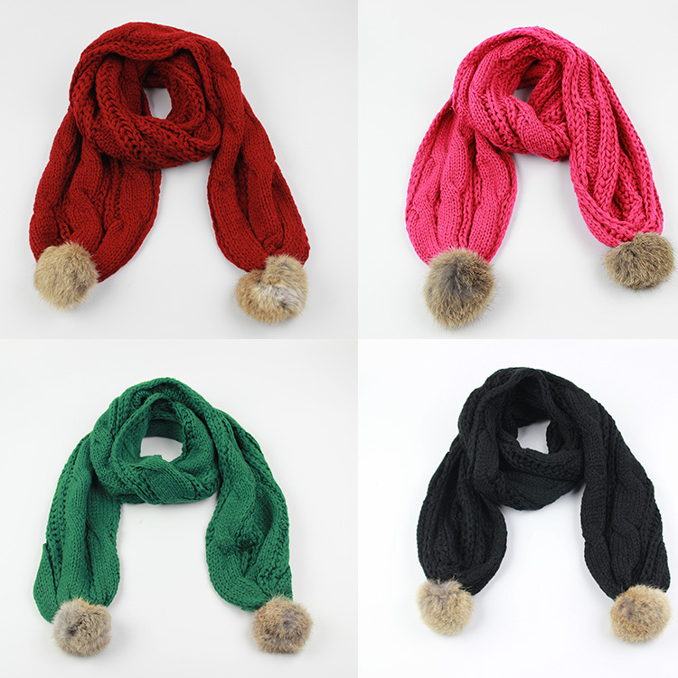 2015 new winter children solid fashion diagonal cotton knitted scarf rabbit ball really scarves warm unisex kids thick neck gift(China (Mainland))