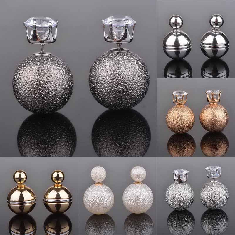 2015 New Fashion Jewelry Double Side Crystal Wrinkle Round Ball Stud Earrings Big Pearl Earrings For Women<br><br>Aliexpress