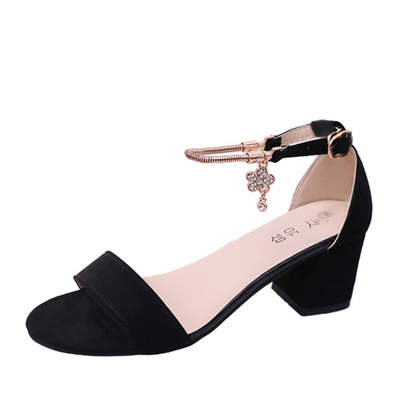 Women Cover Heel Buckle Ankle-Wrap Sandals Plus Size 34-40 2017 New Korean Type Med Heels Fish Mouth Shoes WL22(China (Mainland))