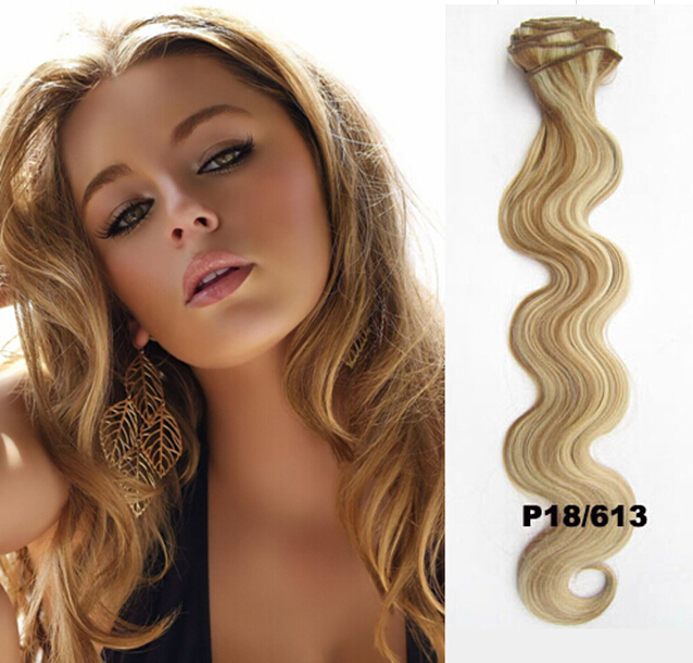 2015 Top Fashion 22 Inch 55cm Deep Curl Full Head Blonde/lightest Clip In Synthetic Hair Extensions Wholesale 12 Pcs/set #18/613(China (Mainland))