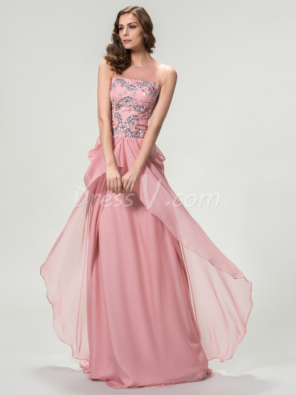 Charming long evening dresses sheer round neck ruched chiffon beaded