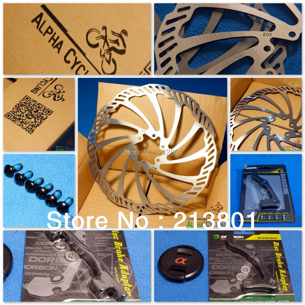 MTB Disc Brake Rotors Upgrade Set,  203mm Upgrade Set (2 Rotors and 2 Adapters, everything you need)<br><br>Aliexpress