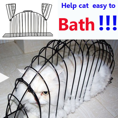 2016 Fashion pet cat bathe cage bed 3 Size S M L Iron Wire Dedicated Transport Bath Pets Cat Safe Gird Separation Cage(China (Mainland))
