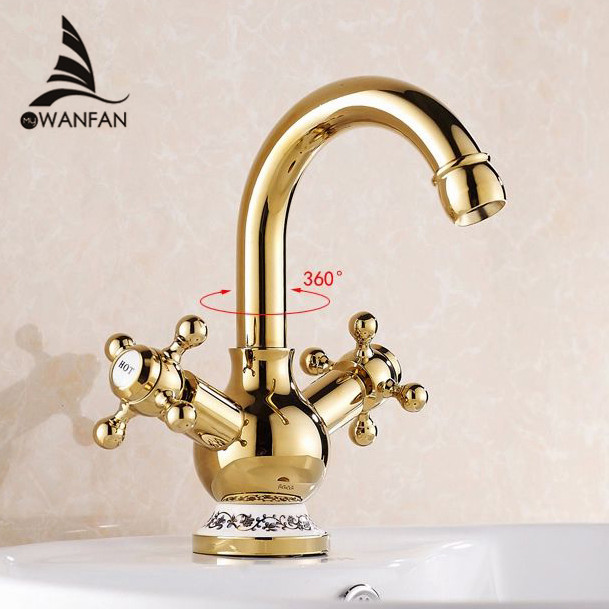 Фотография Free shipping Solid gold faucet,hot sale gold plated purified water basin faucet,deck mounted double lever wash faucet 829K