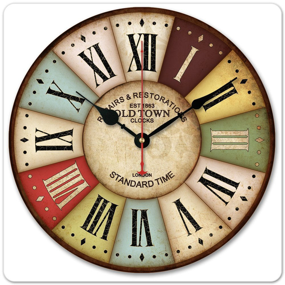 12 30cm vintage london old time clock roman numbers wood. Black Bedroom Furniture Sets. Home Design Ideas
