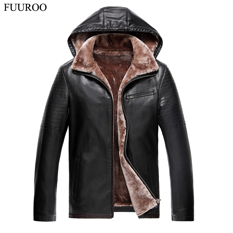 Men Hooded Leather Jackets Brand Design Thick Winter Fur Snow Warm Faux Leather Coats Male Casual Motorcycle Overcoat T2240(China (Mainland))