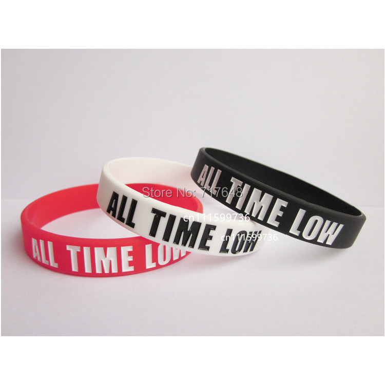 300pcs Debossed color filled ALL TIME LOW wristband silicone bracelets free shipping by FEDEX express(China (Mainland))