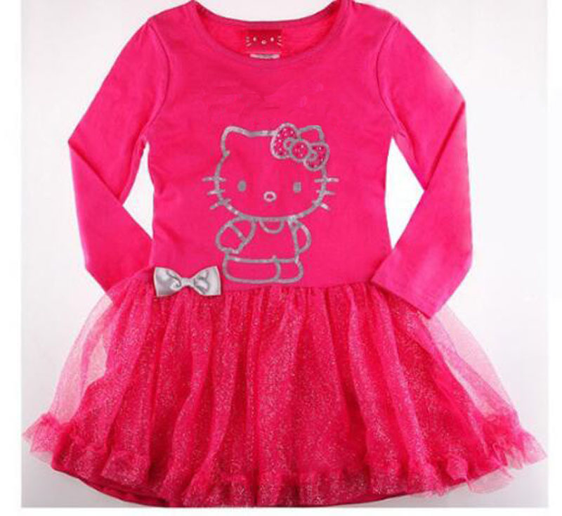 KT cat byby girl dress rose KT cat kids dress for girl Long sleeve high quality baby girl clothes lace vetement robe bebe nina(China (Mainland))