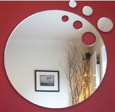 2016 new arrive 3pcs 15cm cut out round wall decorative sticker ,3D crystal mirror wall sticker(China (Mainland))